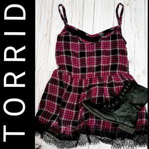 TORRID   Plaid Empire Waist Lace Trim Top   NWT